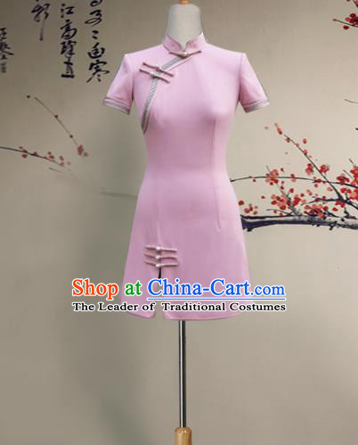 Top Grade Asian Costumes Classical Chinese Cheongsam, Traditional China National Qipao Pink Dress for Women