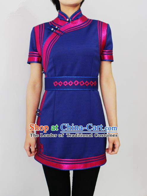 Traditional Chinese Mongol Nationality Dance Costume Middle Sleeve Short Dress, Chinese Mongolian Minority Nationality Princess Mongolian Robe for Women