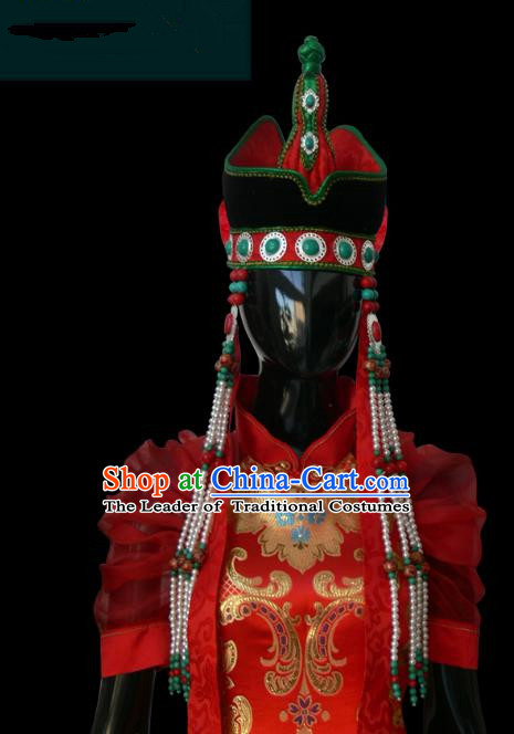 Traditional Chinese Mongol Nationality Bride Hat, Chinese Mongolian Minority Nationality Princess Headwear
