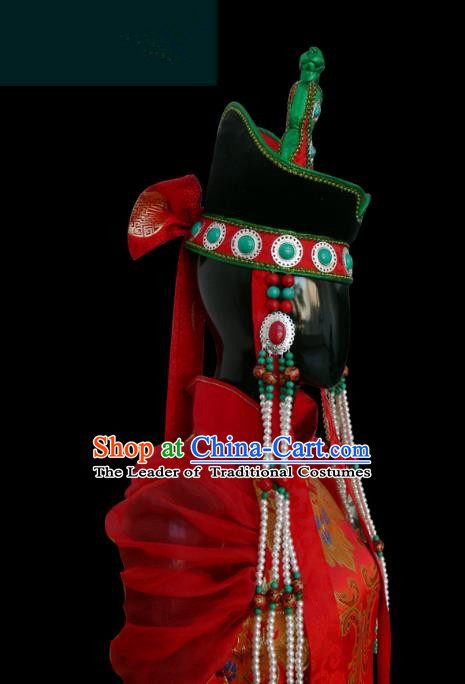 Traditional Chinese Mongol Nationality Dance Costume Mongols Folk Dance Robe Mongolian Minority  Costume and headwear