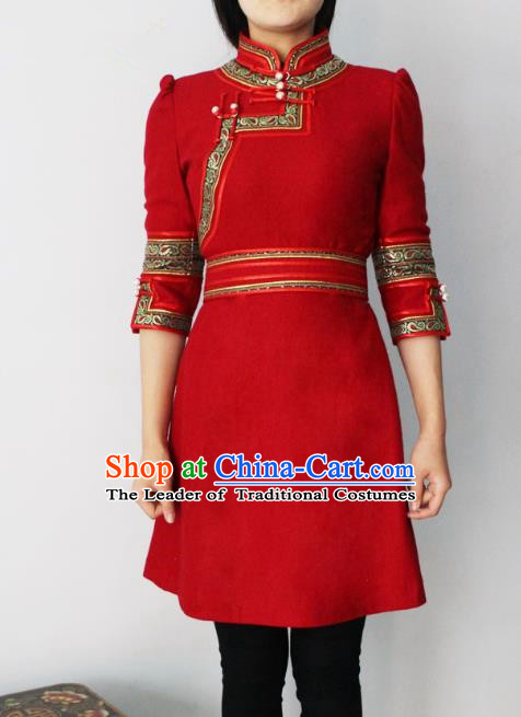 Traditional Chinese Mongol Nationality Dance Costume Red Short Dress, Chinese Mongolian Minority Nationality Princess Mongolian Robe for Women