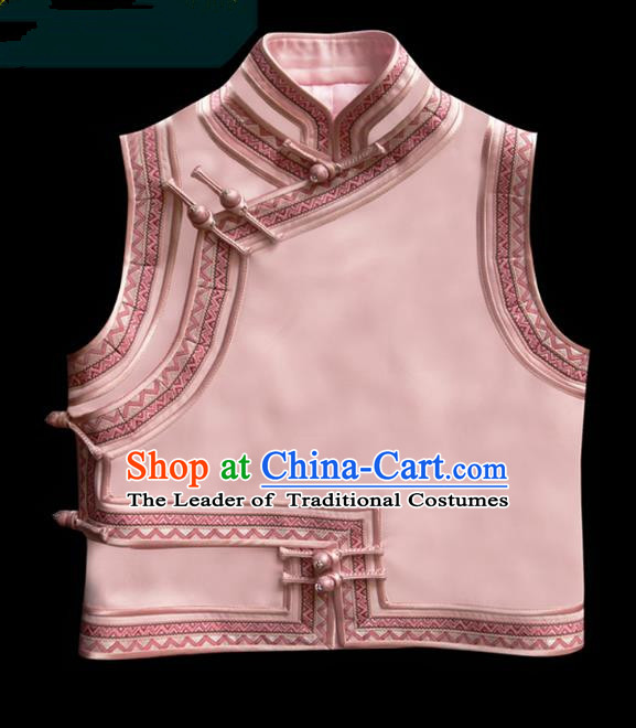 Traditional Chinese Mongol Nationality Dance Costume Pink Vest, Chinese Mongolian Minority Nationality Princess Mongolian Waistcoat for Women