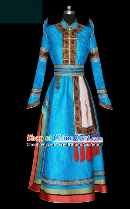 Traditional Chinese Mongol Nationality Costume Princess Blue Mongolian Robe, Chinese Mongolian Minority Nationality Wedding Dress Clothing for Women