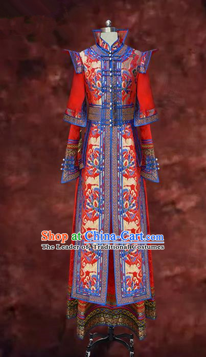 Traditional Chinese Mongol Nationality Costume Dress Bride Red Mongolian Robe, Chinese Mongolian Minority Wedding Clothing for Women