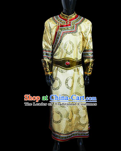 Traditional Chinese Mongol Nationality Dance Costume Wedding Clothing, Chinese Mongolian Minority Nationality Bridegroom Mongolian Robe for Men