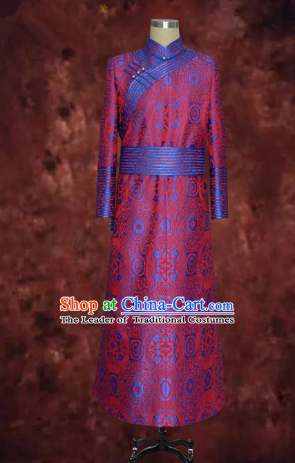 Traditional Chinese Mongol Nationality Dance Costume Rosy Mongolian Robe, Chinese Mongolian Minority Nationality Royal Highness Embroidery Costume for Men