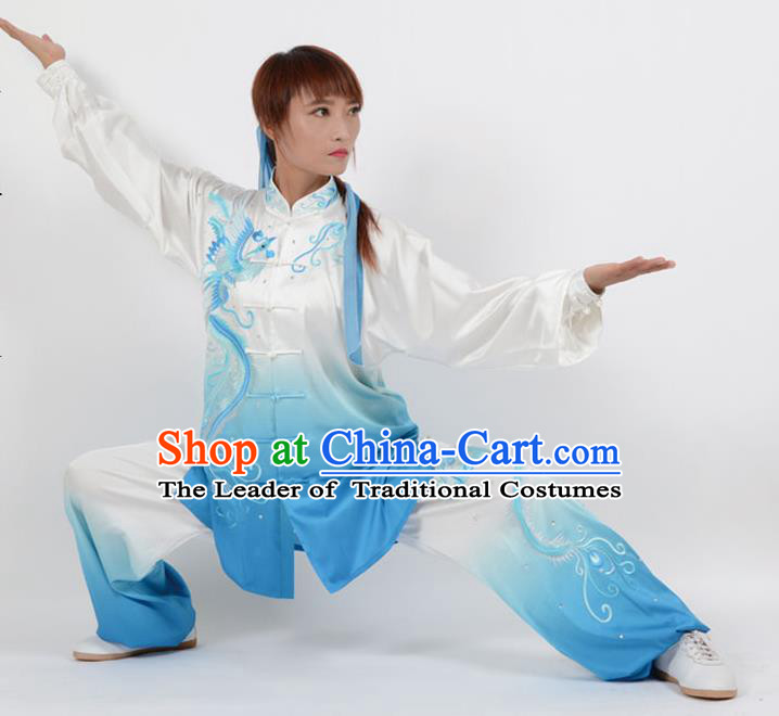 Top Kung Fu Costume Martial Arts Costume Kung Fu Training Blue Uniform, Gongfu Shaolin Wushu Embroidery Phoenix Tai Ji Clothing for Women