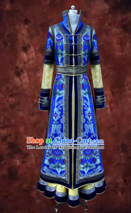 Traditional Chinese Mongol Nationality Dance Costume Queen Blue Mongolian Robe, Chinese Mongolian Minority Nationality Bride Embroidery Costume for Women