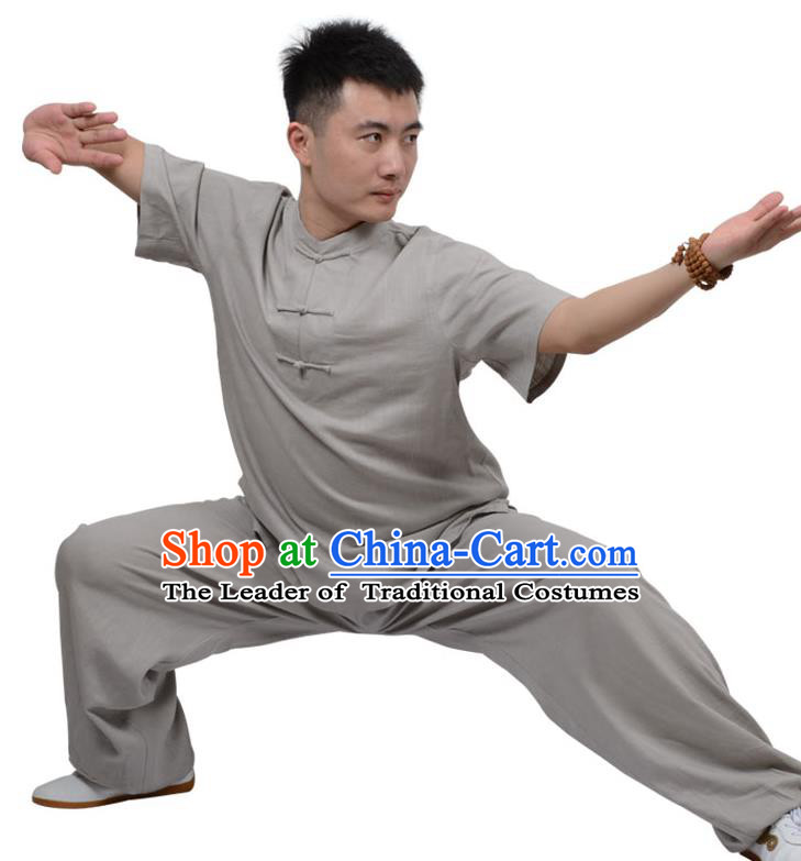 Top Kung Fu Linen Costume Martial Arts Costume Kung Fu Training Plated Buttons Grey Uniform, Gongfu Shaolin Wushu Tai Ji Clothing for Women for Men