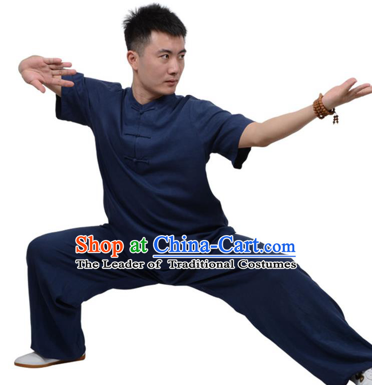 Top Kung Fu Linen Costume Martial Arts Costume Kung Fu Training Plated Buttons Navy Uniform, Gongfu Shaolin Wushu Tai Ji Clothing for Women for Men
