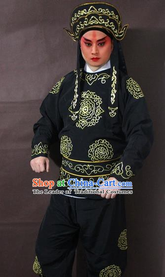 Traditional China Beijing Opera Takefu Embroidered Black Costume, Chinese Peking Opera Soldier Clothing