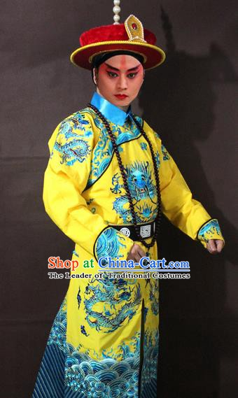 Traditional China Beijing Opera Emperor Embroidered Costume, Chinese Peking Opera Qing Dynasty Majesty Clothing