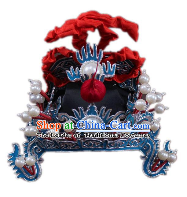 Traditional China Beijing Opera General Hats, Chinese Peking Opera Royal Highness Helmet Headwear