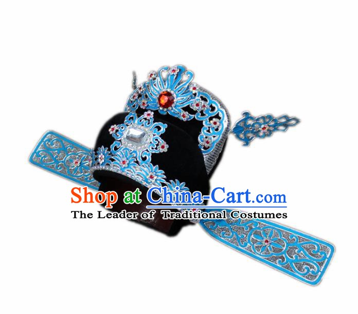 Traditional China Beijing Opera Bridegroom Scholar Hats, Chinese Peking Opera County Magistrate Headwear