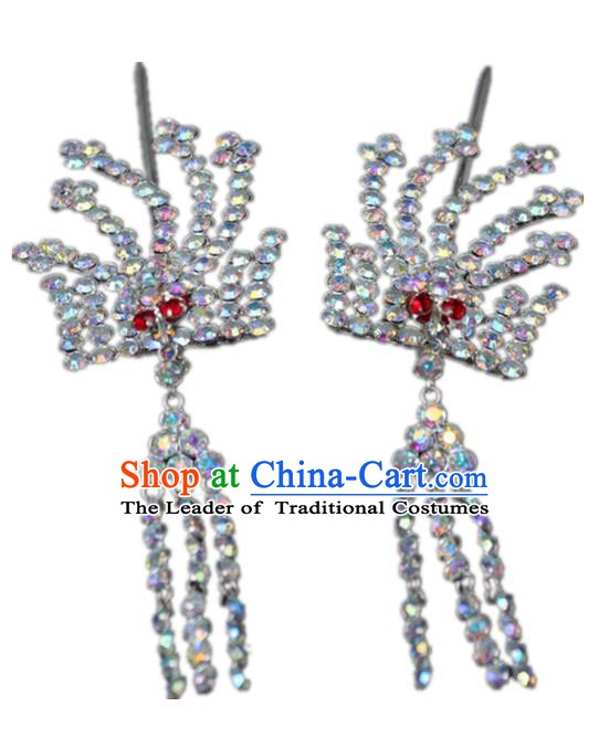 Traditional China Beijing Opera Actress Hair Accessories Step Shake, Chinese Peking Opera Diva Phoenix Tassel Hairpins Headwear