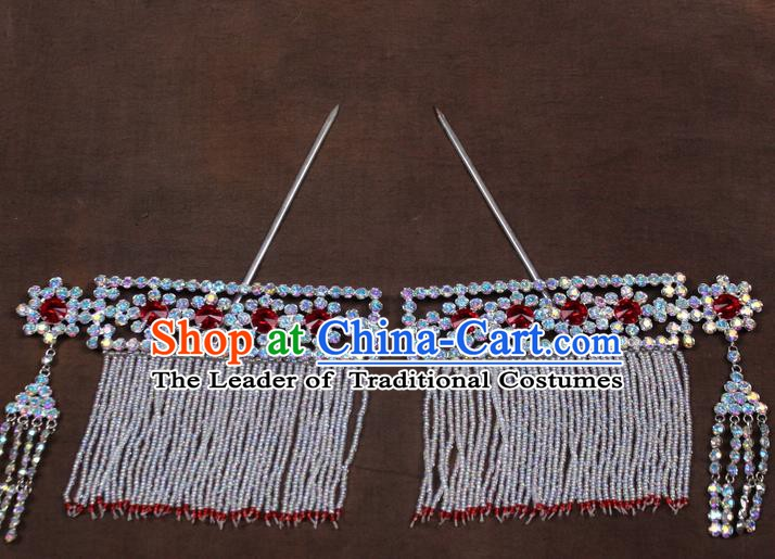 Traditional China Beijing Opera Actress Crystal Hair Accessories, Chinese Peking Opera Diva Tassel Hairpins Headwear