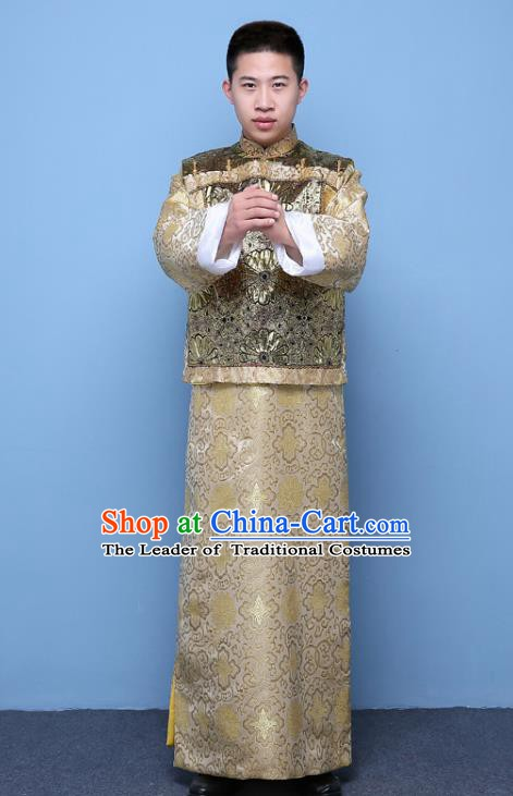 Traditional Ancient Chinese Qing Dynasty Prince Costume, China Manchu Nobility Childe Embroidered Brown Mandarin Jacket Clothing for Men