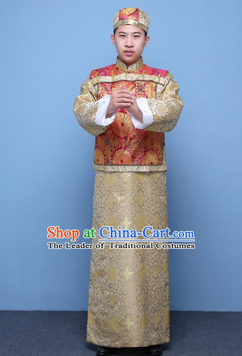Traditional Ancient Chinese Qing Dynasty Prince Costume, China Manchu Nobility Childe Embroidered Rosy Mandarin Jacket Clothing for Men