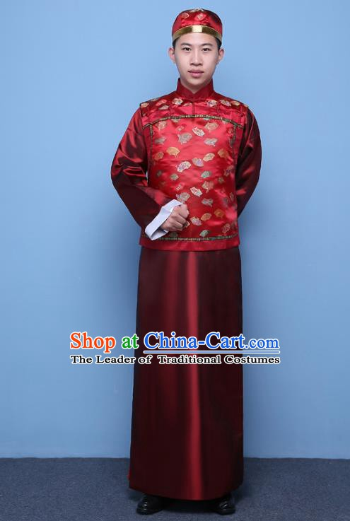 Traditional Ancient Chinese Qing Dynasty Prince Costume, China Manchu Nobility Childe Red Mandarin Jacket Clothing for Men
