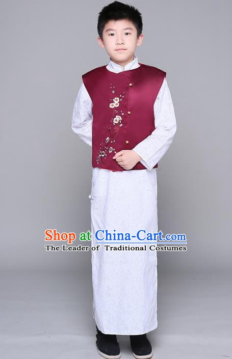 Traditional Chinese Republic of China Boy Clothing, China National Embroidered Mandarin Jacket for Kids