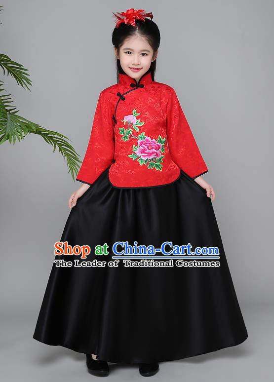 Traditional Chinese Republic of China Children Clothing, China National Embroidered Red Cheongsam Blouse and Skirt for Kids