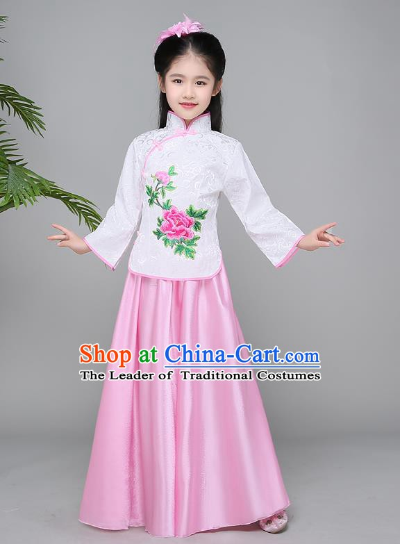 Traditional Chinese Republic of China Children Clothing, China National Embroidered White Cheongsam Blouse and Skirt for Kids