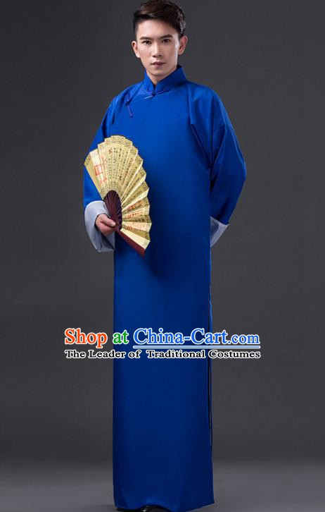 Traditional Chinese Republic of China Costume Blue Long Gown, China National Comic Dialogue Clothing for Men