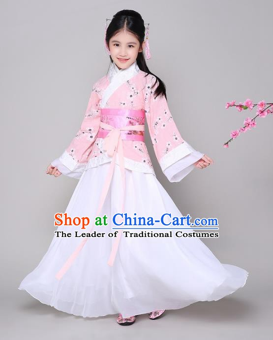 Traditional Chinese Ancient Princess Hanfu Clothing, China Han Dynasty Palace Lady Costume for Kids