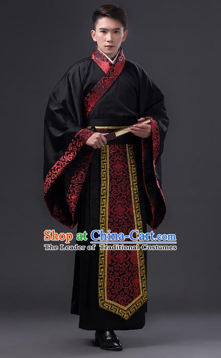 Traditional Chinese Han Dynasty Minister Costume, China Ancient Chancellor Hanfu Clothing for Men