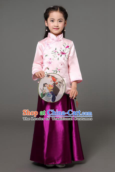 Traditional Chinese Republic of China Children Clothing, China National Embroidered Pink Cheongsam Blouse and Purple Skirt for Kids
