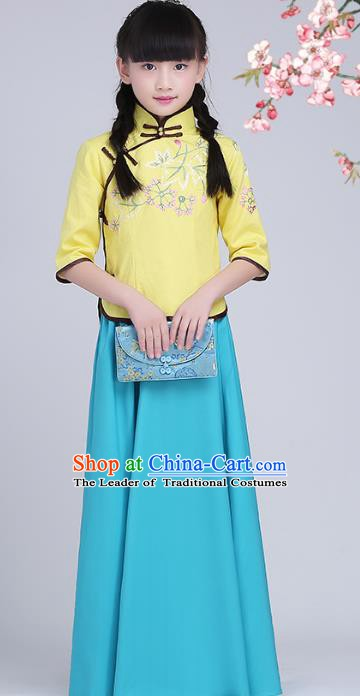 Traditional Chinese Republic of China Children Clothing, China National Embroidered Yellow Cheongsam Blouse and Blue Skirt for Kids