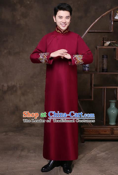 Traditional Chinese Republic of China Wedding Costume Red Long Gown, China National Comic Dialogue Embroidered Clothing for Men