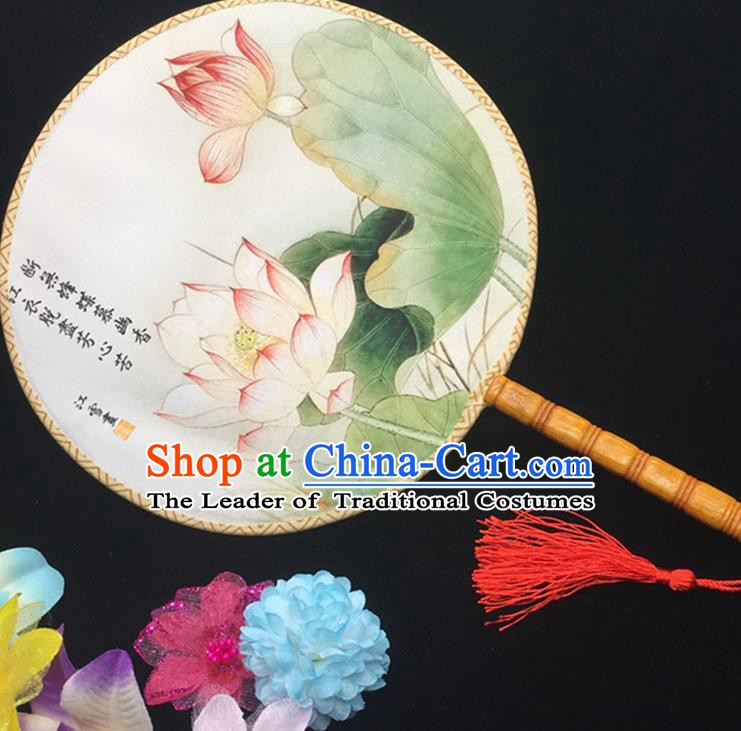 Traditional Chinese Handmade Palace Fans Hanfu Princess Printing Lotus Round Fan for Women