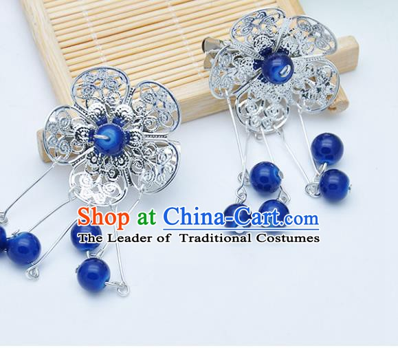 Traditional Chinese Handmade Hair Accessories Hairpins Hanfu Blue Beads Tassel Hair Claw for Kids
