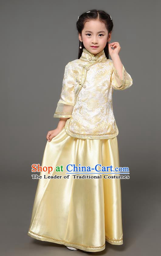 Traditional Chinese Republic of China Children Xiuhe Suit Clothing, China National Embroidered Yellow Cheongsam Blouse and Skirt for Kids