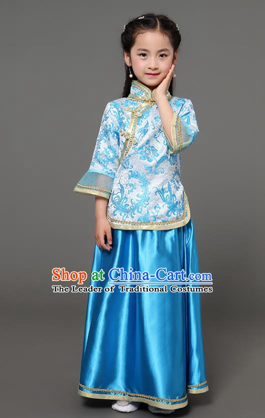 Traditional Chinese Republic of China Children Xiuhe Suit Clothing, China National Embroidered Blue Cheongsam Blouse and Skirt for Kids