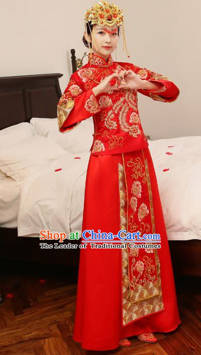 Ancient Chinese Wedding Costume Xiuhe Suits Traditional Women Longfeng Dragon and Phoenix Flown Bride Toast Cheongsam