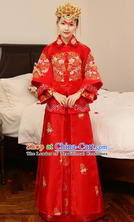 Chinese Traditional Bride Wedding Costume Xiuhe Suits China Ancient Embroidered Peony Clothing for Women