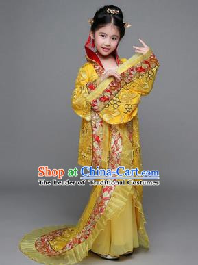 Traditional Chinese Tang Dynasty Imperial Concubine Costume, China Ancient Palace Lady Hanfu Embroidered Yellow Dress for Kids