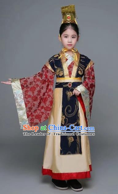 Traditional Chinese Han Dynasty Prime Minister Costume, China Ancient Chancellor Hanfu Embroidered Clothing for Kids