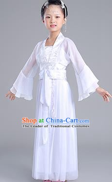 Traditional Chinese Tang Dynasty Princess Costume, China Ancient Fairy Embroidered White Dress Clothing for Kids