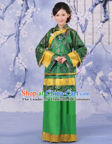 Traditional Chinese Republic of China Nobility Fairlady Costume, China Ancient Green Xiuhe Suit Embroidered Clothing for Women