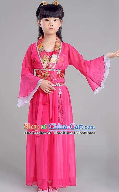 Traditional Chinese Tang Dynasty Princess Costume, China Ancient Fairy Embroidered Rosy Dress Clothing for Kids