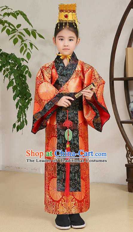 Traditional Chinese Han Dynasty Children Emperor Costume, China Ancient Majesty Hanfu Embroidered Robe for Kids