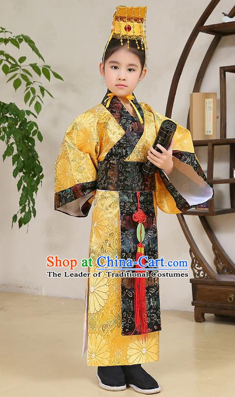 Traditional Chinese Han Dynasty Children Emperor Costume, China Ancient Majesty Hanfu Yellow Embroidered Robe for Kids