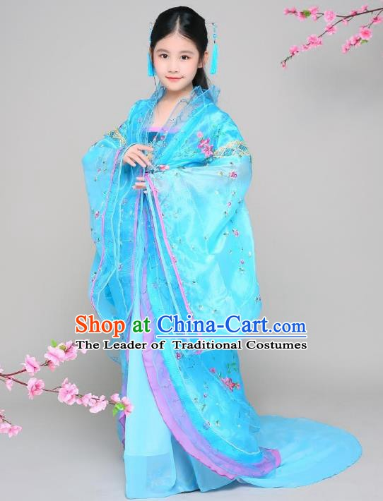 Traditional Chinese Tang Dynasty Children Imperial Concubine Blue Costume, China Ancient Palace Lady Hanfu Embroidered Clothing for Kids