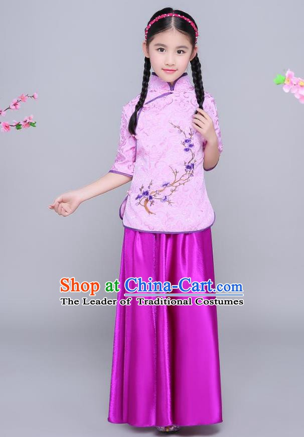 Traditional Chinese Republic of China Children Clothing, China National Embroidered Wintersweet Purple Blouse and Skirt for Kids