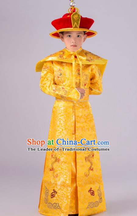 Traditional Chinese Qing Dynasty Children Emperor Costume, China Manchu Majesty Embroidered Dragon Robe for Kids