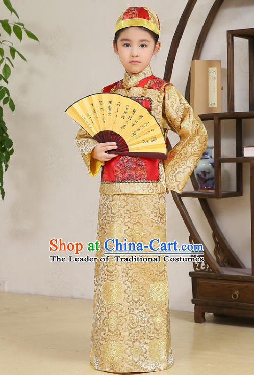 Traditional Chinese Qing Dynasty Nobility Childe Costume, China Manchu Prince Embroidered Clothing for Kids