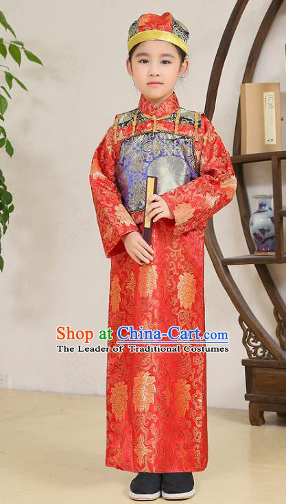 Traditional Chinese Qing Dynasty Nobility Childe Costume Blue Mandarin Jacket, China Manchu Prince Embroidered Clothing for Kids